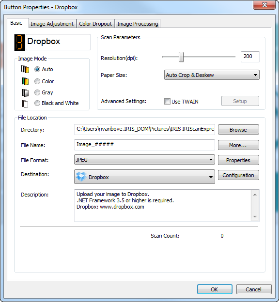 Scan to PDF, Word, image, etc    by just pressing one button! - IRIS